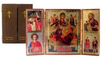 Russian wood icon Queen of All & 4 more Triptych