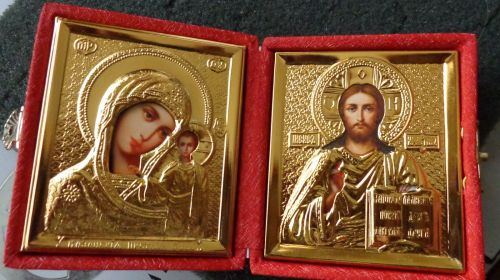 RUSSIAN GOLD DIPTYCH WEDDING or TRAVEL ICON 22 kt gold plated marvelous red box