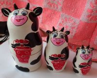 Cow WOOD Hand painted RUSSIAN NESTING DOLL 3 PCS 5.5