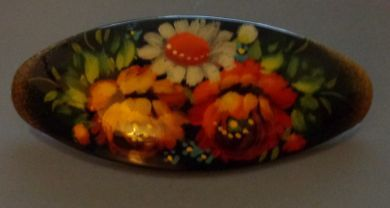 russian hand painted hair clip pin