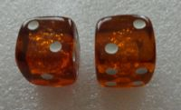 set of 2 Natural cognac Baltic Amber dice large 20 mm