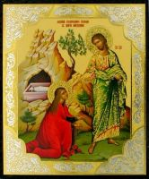 Russian wood icon Christ Appearing to Mary Magdaline