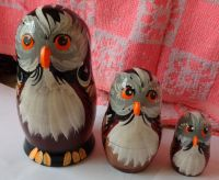 Owl WOOD Hand painted RUSSIAN NESTING DOLL 3 PCS 5.0